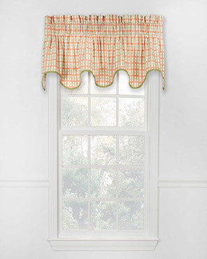 Charlestown Check Lined Scallop Valance hanging on a curtain rod