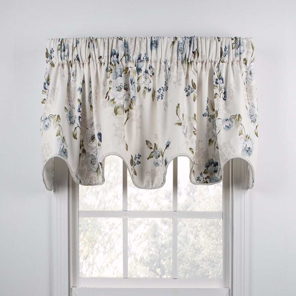 Chatsworth Lined Scalloped Valance hanging on a curtain rod