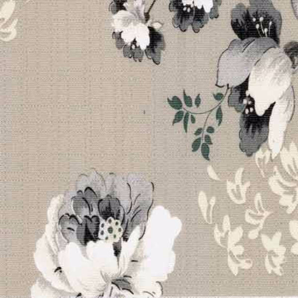Closeup of Grey Chatsworth Lined Tie-Up Valance fabric
