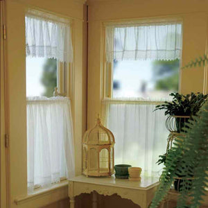 Chelsea Pin Stripe Sheer Kitchen Valance, Swags, and Tier Curtains hanging on curtain rods
