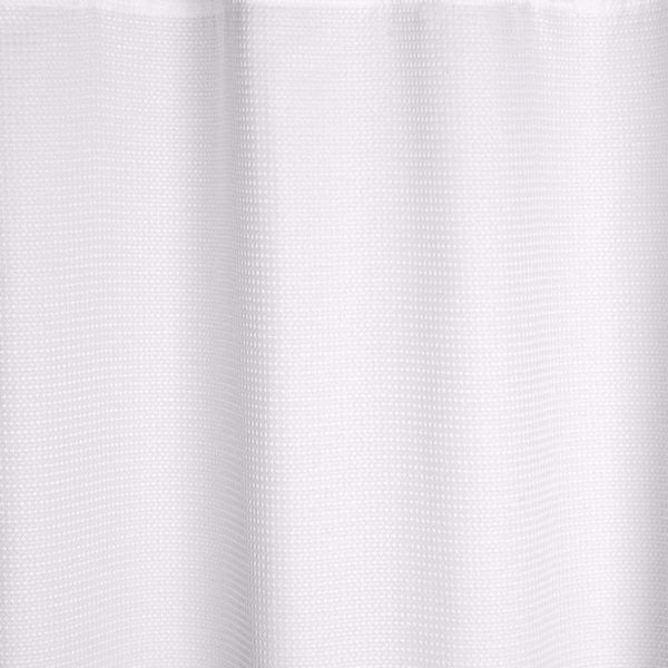 Close up shot of White Chenille Fabric Shower Curtain fabric