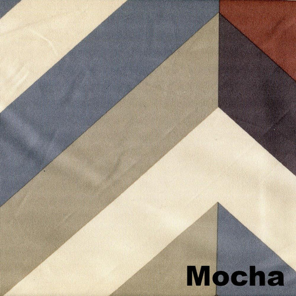 Up close shot of Mocha Sun Zero Chevron Thermal Lined Grommet Top Panel fabric