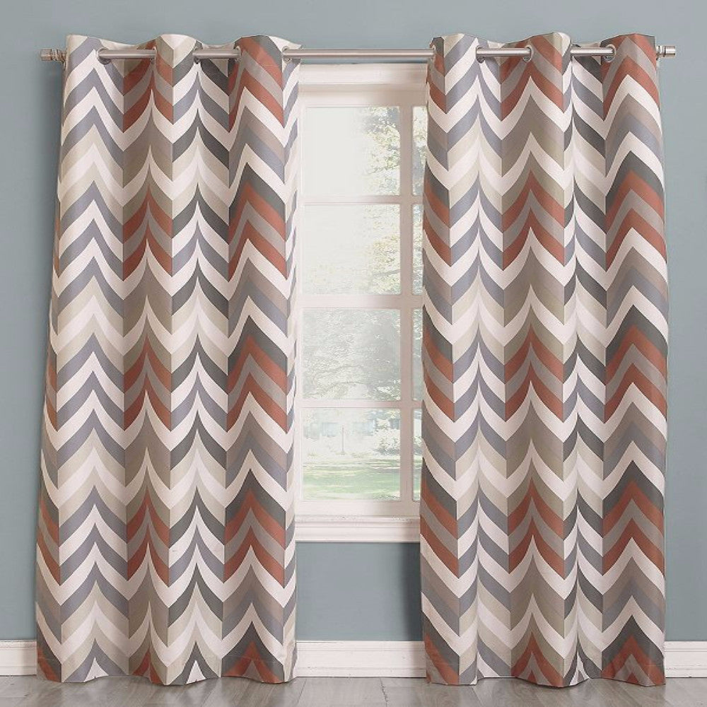 Mocha Sun Zero Chevron Thermal Lined Grommet Top Panel hanging on a decorative curtain rod
