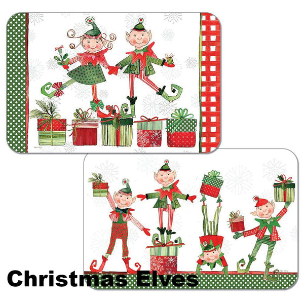 Christmas Elves Assortment Christmas Reversible Plastic Placemats