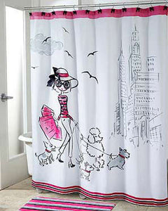 Multi Chloe Fabric Shower Curtain hanging on a shower curtain rod