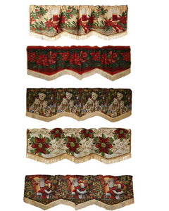 Violet Linen Decorative Christmas Tapestry Window Valance