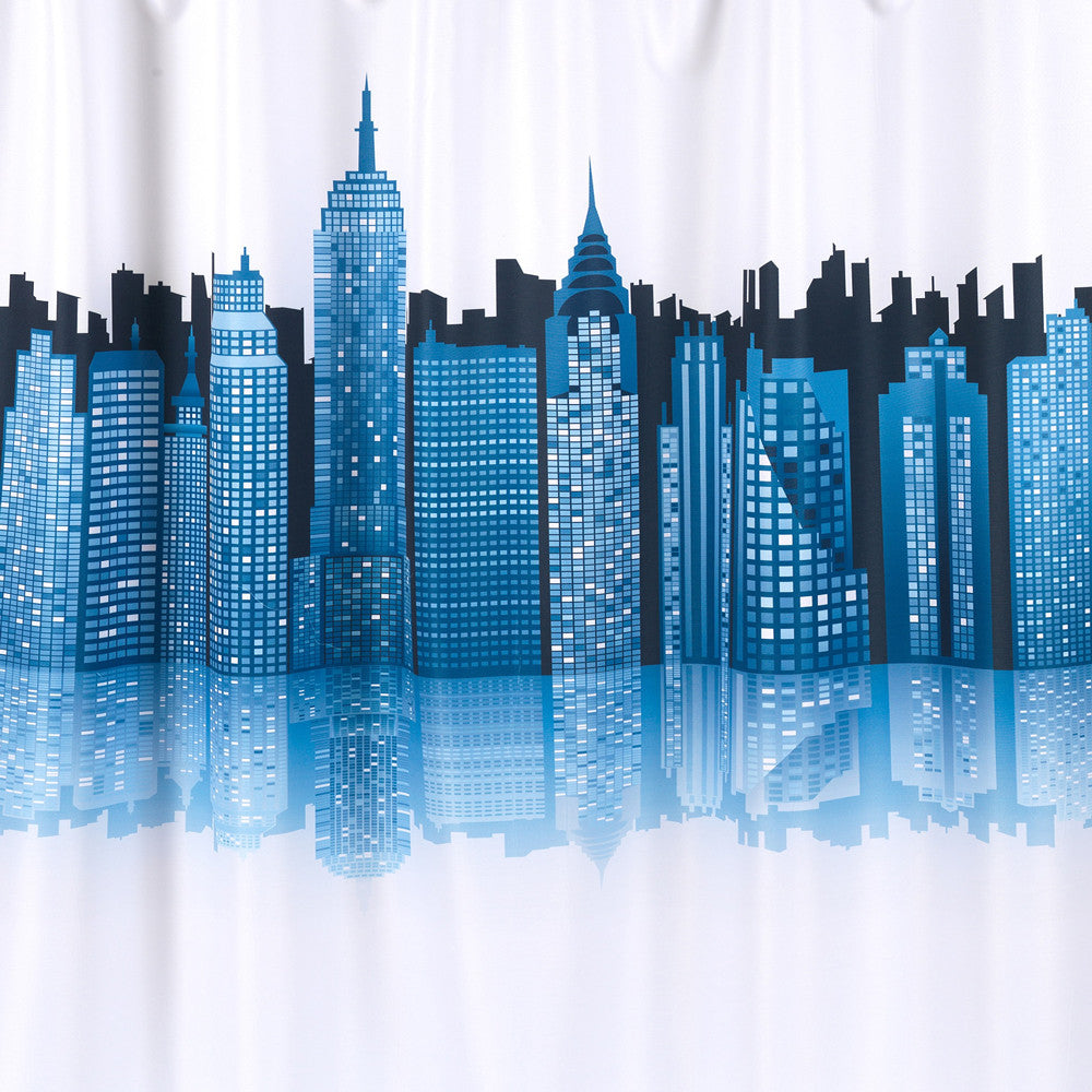 Cityscape Fabric Shower Curtain