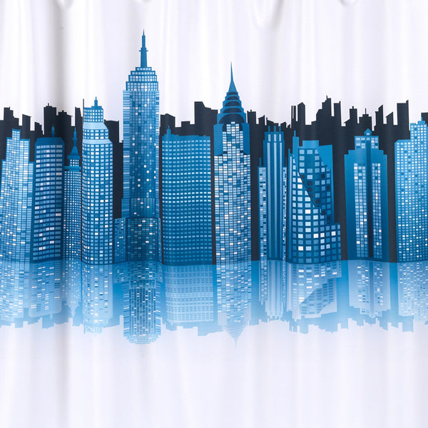 Close up shot of Blue Cityscape Fabric Shower Curtain fabric