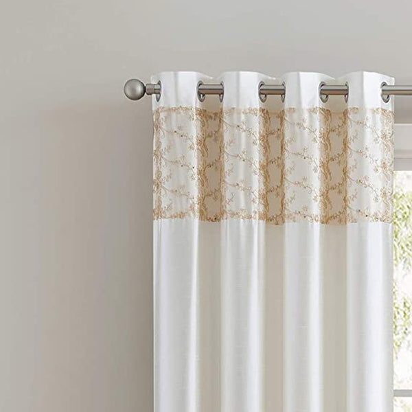 Cody Faux Silk Grommet Panel & Valance with Metallic Embroidered Band