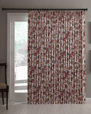 Cornwall Jacobean Floral Thermal Insulated Pinch Pleated Patio Panel