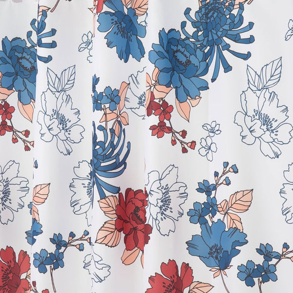 Close up shot of Red/Blue Cottage Floral Fabric Shower Curtain fabric