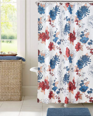 Red/Blue Cottage Floral Fabric Shower Curtain hanging on a shower curtain rod