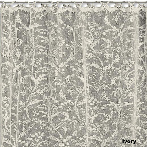 "Coventry Lace Panel With Rings Heritage Lace-Ivory 45""x 63"" 45""x 84"" 45""x 95"