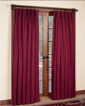 Boredux Crosby Insulated Pinch Pleated Panel Pair hanging on a decorative curtain rod
