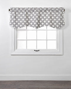 Charcoal Crystal Lined Embroidered Scalloped Valance hanging on a rod