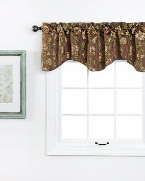 Chocolate Dahlia Valance hanging on a decorative rod