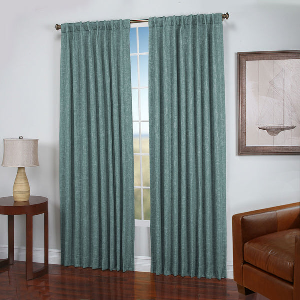 Slate Blue Dalton Natural Woven Lined 2-Way Rod Pocket Panel hanging on a decorative rod