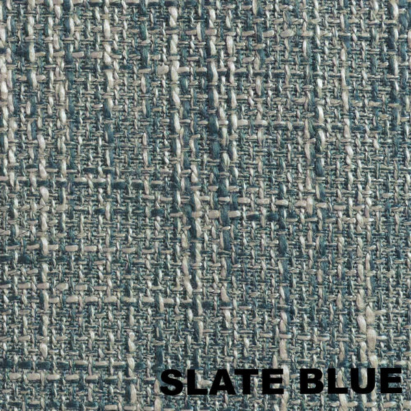 Up close shot of Slate Blue Dalton Natural Woven Lined 2-Way Rod Pocket Panel fabric