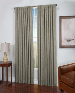 Natural Dalton Natural Woven Lined 2-Way Rod Pocket Panel hanging on a decorative rod