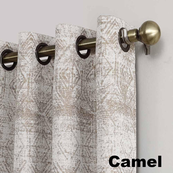 Close Up of Camel Sun Zero Darren Distressed Damask Blackout Grommet Top Panel showing grommet