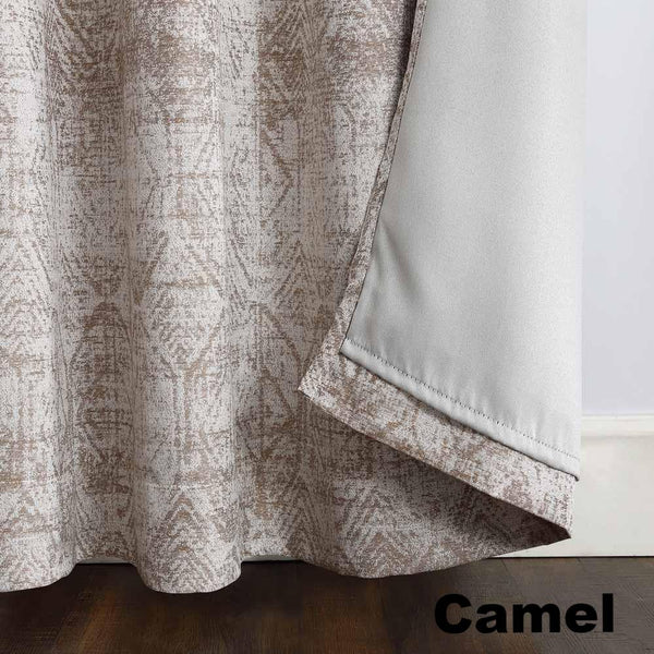 Camel Sun Zero Darren Distressed Damask Blackout Grommet Top Panel showing lining