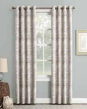 Camel Sun Zero Darren Distressed Damask Blackout Grommet Top Panel hanging on a decorative rod