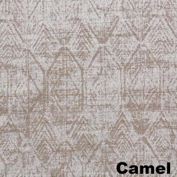 Up close shot of Camel Sun Zero Darren Distressed Damask Blackout Grommet Top Panel fabric