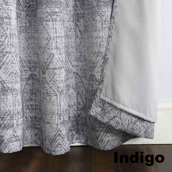 Indigo Sun Zero Darren Distressed Damask Blackout Grommet Top Panel showing lining