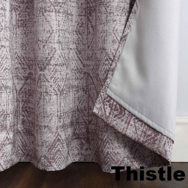 Thistle Sun Zero Darren Distressed Damask Blackout Grommet Top Panel showing lining