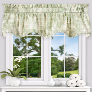 Davins Lined Scallop Valance hanging on a curtain