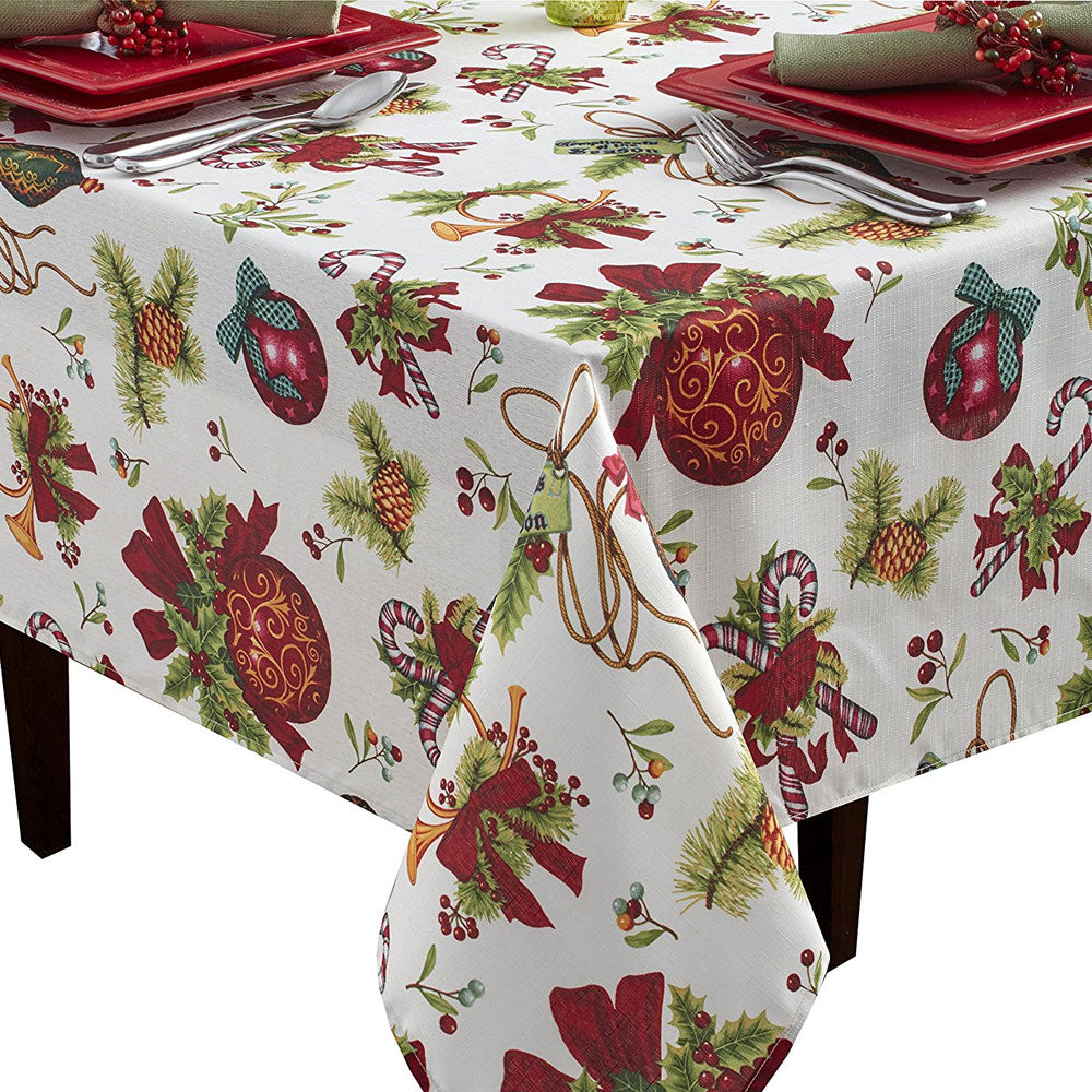 Closeup of Deck The Halls Textured Printed Tablecloth on a oblong table