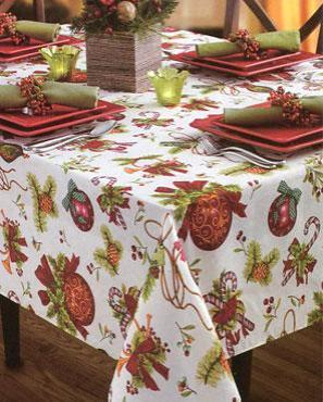 Deck The Halls Textured Printed Tablecloth on a oblong table