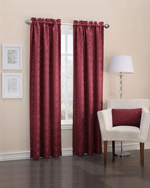 Burgundy Denise Thermal Lined Rod Pocket Panel hanging on a decorative curtain rod