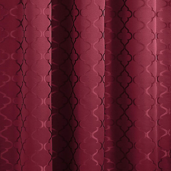 Closeup of burgundy Denise Thermal Lined Rod Pocket Panel fabric
