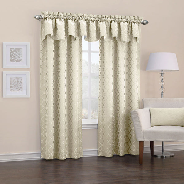 Ivory Denise Thermal Lined Rod Pocket Panel hanging on a decorative curtain rod