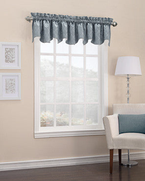 Denise Blackout Valance hanging on a curtain rod