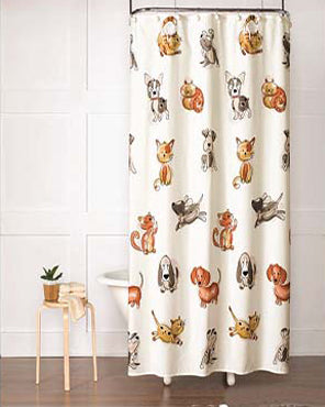 Dogs and Cats Fabric Shower Curtain