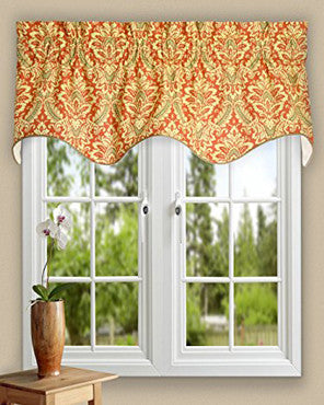 Donnington Lined Duchess Filler Valance hanging on a curtain rod