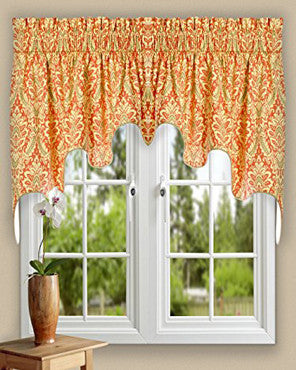 Donnington Lined Duchess Valance hanging on a curtain rod