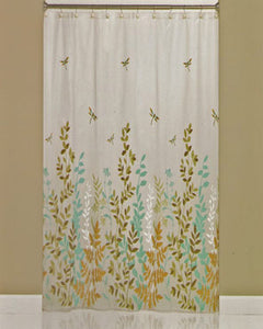 Dragonfly Peva Vinyl Shower Curtain hanging on a shower rod