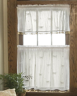 Dragonfly Lace Tier Panel and Valance with Trim