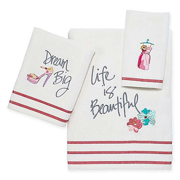 White Dream Big Fabric Shower Curtain Towel Set