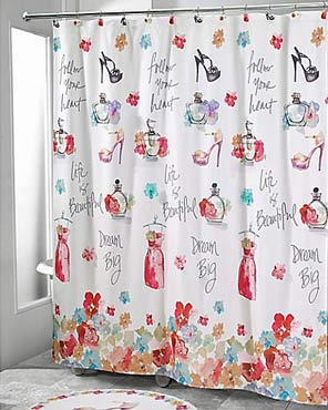 White Dream Big Fabric Shower Curtain hanging on a shower curtain rod