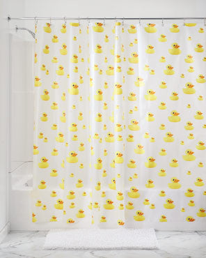 Ducks EVA Vinyl Shower Curtain hanging on a shower rod