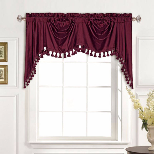Dupioni Silk Austrian Valance hanging on a rod