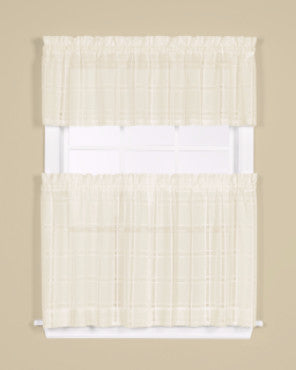 Ivory Easton Semi Sheer Kitchen Valance and Tier Curtains hanging on a curtain rod