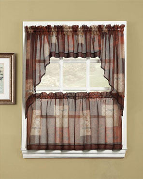Multi Eden Sheer Kitchen Valance, Swags, and Tier Curtains hanging on curtain rods