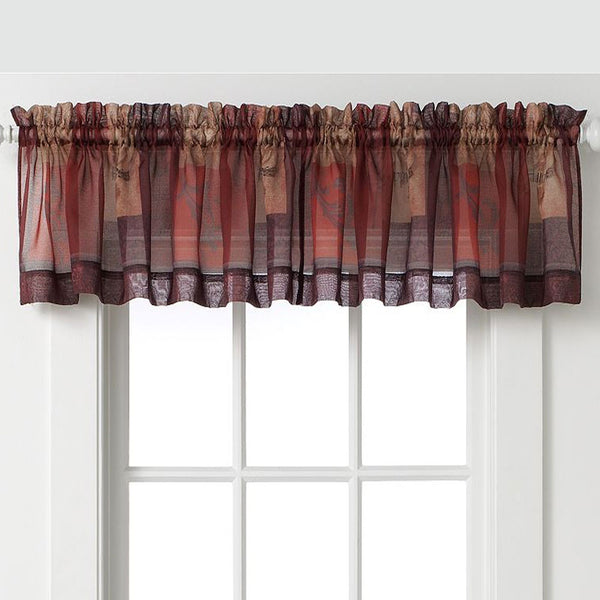 Multi Eden Sheer Kitchen Valance hanging on a curtain rod