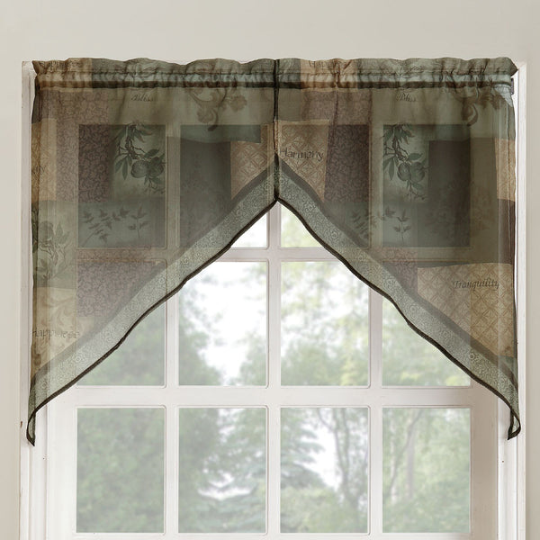 Sage Eden Sheer Kitchen Swags hanging on a curtain rod
