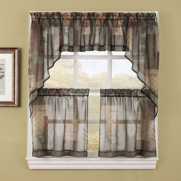 Sage Eden Sheer Kitchen Valance, Swags, and Tier Curtains hanging on curtain rods
